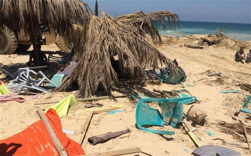 Remains of the Fun Time Beach bar at Khan Younis beach, Gaza, where nine friends were watching the World Cup when they were struck by a fatal Israeli strike | Robert Tait, Telegraph
