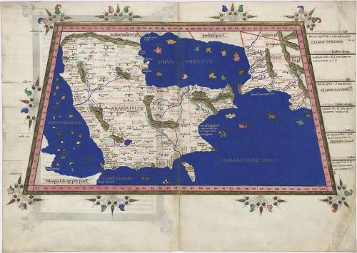 """Map VI from Ptolemy's """"Cosmographia"""" showing Sinus Persicus (Persian Gulf) and Sinus Arabicus (Red Sea), reconstruction from 1467"""
