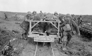 Transporting the wounded from the battlefield at Vimy Ridge