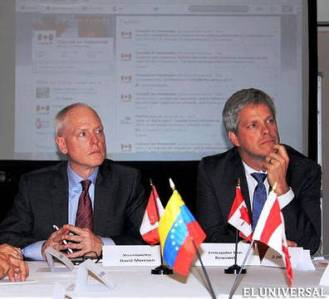 Canadian Assistant Deputy Minister for the Americas, David Morrison (at left), and Ben Rowswell in Caracas, July 2014
