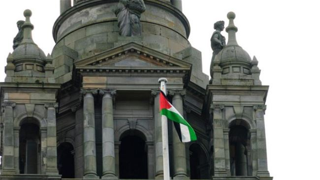 Palestinian flag flies over Glasgow City Council to show solidarity with the people of Palestine on August 8, 2014.