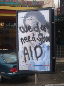 Graffiti in Ramalla, Palestine. US Aid: We don't need your aid   David Lisbona/flickr