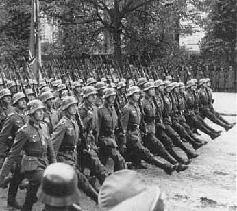 Nazis parade through Warsaw following the invasion of Poland, September 28-30, 1939.