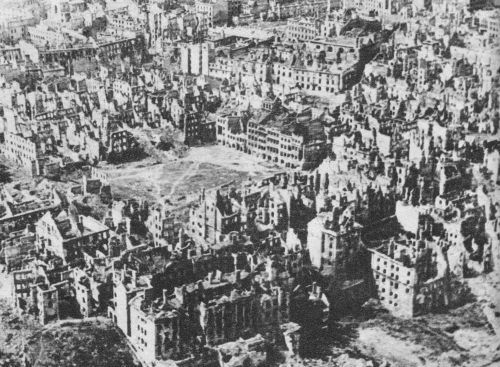 "The Nazis had a longstanding plan to annihilate Warsaw as part of destroying and remaking the entirety of Poland. This photo from January 1945 shows that 85 per cent of the city was destroyed. This campaign of destruction was also meant to ""teach a lesson"" to the partisans of Warsaw who fought so valiantly to the end, so that their example would not be followed by others 