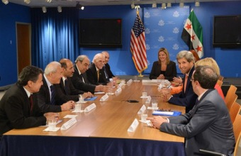 John Kerry meets with terrorist forces organized in Syrian National Council in Washington on July 23, 2013.