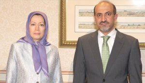 MEK's Maryam Rajavi and SNC's Ahmed Jarba meet to discuss cooperating for regime change in Tehran and Damascus.