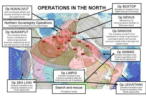 Map of current military exercises in northern Canada – click to enlarge | Canadian Forces