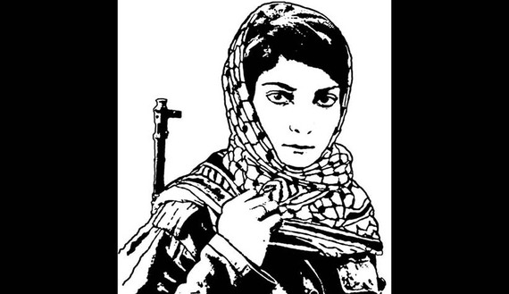 "A poster from Dan Walsh's collection titled ""Viva Palestine,"" depicting Leila Khaled, by Jesus Barraza, 2004. 