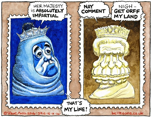 Steve Bell in The Guardian, 16 Sep 2014
