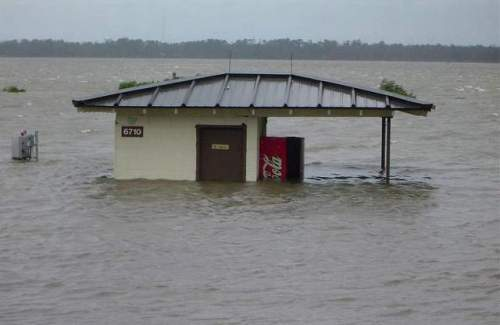 In 2005, during Hurricane Katrina, 125 mph winds and high tides converged to create a storm surge that inundated Keesler Air Force Base, Mississippi. The military is bracing for a global warming crisis that will cause sea levels to rise by at least 12 to 18 inches over the next 20 to 50 years and make severe weather more common | US Air Force