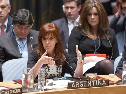 "President Christina Fernandez de Kirchner addressing a UN Security Council high-level meeting in September, 2014 on the threat to international peace and security caused by ISIS terrorist acts. In her speech to the UN General Assembly she said: ""… terrorists are not only those who go planting bombs, there are economic terrorists who destabilise the economy of a country and produce poverty, hunger and misery from the sin of speculation. It is something we should say very clearly."" She also asked who gave the 'terrorists' in the Middle East their weapons in the first place, subtly pointing to the West's complicity in arming 'freedom fighters' who, according to how the geo-political game is going, are suddenly labelled 'terrorists' (and vice versa). From Kosovo to Syria and Libya, the US and its allies have excelled in this."