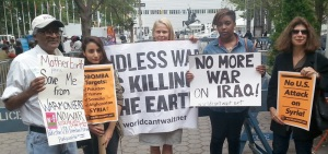 Protest against President Obama's warmongering in the name of fighting terrorism, UN Headquarters, New York City, September 29, 2014.