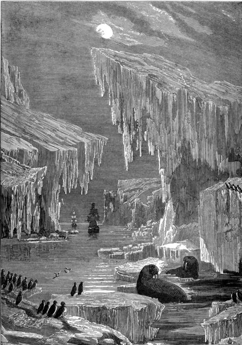 "In The Sea: Its Stirring Story of Adventure, Peril, & Heroism, Volume 3 (by Frederick Whymper and published by Cassell, Petter, Galpin & Co.), we see an illustration of ""The Erebus and the Terror among Icebergs.""  The drawing (illustration 43) appears in Chapter 22, entitled ""Franklin's Last Voyage,"" opposite page 206."