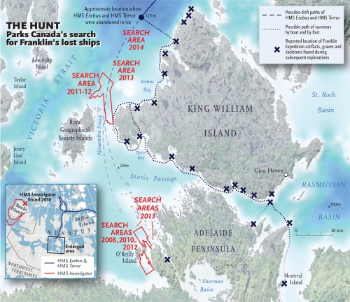 The Inuit had accurately revealed where Franklin and his ships were lost. The problem was that few investigators believed them, so the initial search areas for the lost Expedition were off-the-mark. Chris Brackley, of Canadian Geographic, depicts the search efforts for Sir John Franklin's lost ships by Parks Canada.  Year after year, searchers located Expedition artifacts but they did not find reliable evidence of either the Erebus or the Terror. Then .... hundreds of years after Franklin and his men were last-sighted ... during 2014, an underwater archaeological expedition found one of the ships (either the Erebus or the Terror) off the upper northwestern shore of King William Island. (Click to enlarge)
