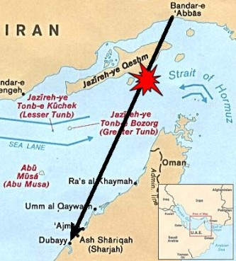Locater map depicting Iran Air 655's origination point, destination and approximate location of the shootdown. (The air corridor is not necessarily a direct path.) | CIA