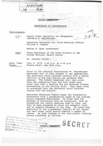 The first page of the memorandum of conversation of the historic July 9, 1975, U.S.-Cuba meeting at the Pierre Hotel (see Document 9). (Click to enlarge)