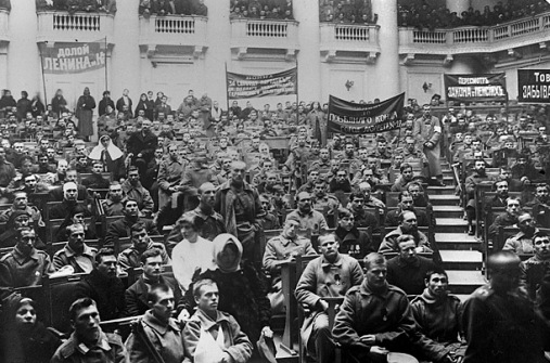 The October Revolution led by the Bolshevik (Majority) Party and V.I. Lenin ended Russia's participation in WWI, inspiring the German sailors and workers on their course.
