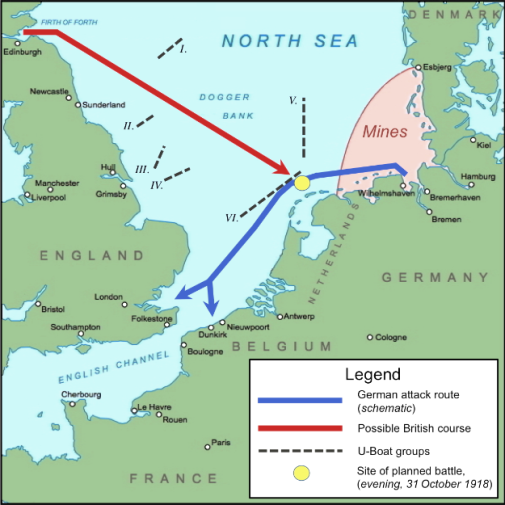 The German Imperial Naval Command in Kiel under Admiral Franz von Hipper, without authorization, planned to dispatch the fleet for a last battle against the Royal Navy in the English Channel. The naval order of 24 October 1918 and the preparations to sail first triggered a mutiny among the affected sailors and then a general revolution which was to sweep aside the monarchy within a few days. The mutinous sailors had no intention of being needlessly sacrificed in the last moment of the war. (Click to enlarge)