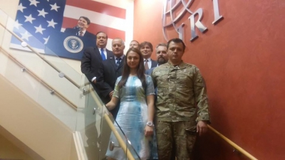 """The International Republican Institute, headed by US Senator Joh McCan, hosts a visit by Semyon Semyonchenko (in camouflage uniform), commander of the neo-Nazi """"Donbass Battalion,"""" November 2013, shown in this picture posted by Semyonchenko to Facebook. Behind him on the right is Tennessee Senator Robert Corker. (Click to enlarge)"""