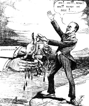 """Caricature of Arthur Meighen a future Prime Minister of Canada, callously handing over a Canadian soldier into the hands of """"Imperialism."""" As Solicitor General in 1917, Meighen was instrumental in drafting the conscription bill. (Click to enlarge)."""
