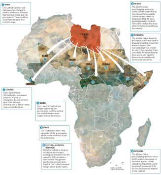 The influence of Libya in North Africa (Click to enlarge)