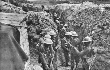The brutal trench warfare of World War One.