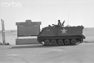 One of several armoured personnel carriers deployed by the US Army at Wounded Knee in 1973