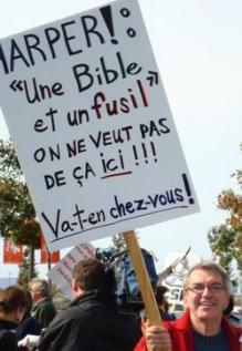 """""""Harper: a bible in one hand and a gun in the other -- we don't want that here -- get out!"""""""