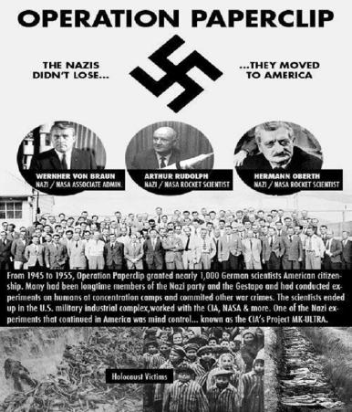 The U.S. actively recruited Nazi war criminals through Operation Paperclip after World War II as part of its own striving for world domination (click to enlarge)