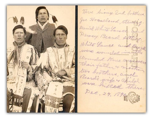 Postcard photograph of Dewy Beard and his brother, survivors of Wounded Knee Massacre | dickshovel.com/