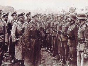 Hein­rich Himm­ler inspect­ing troops of the 14th Waf­fen SS Divi­sion (Gali­cia), staffed by OUN/B.