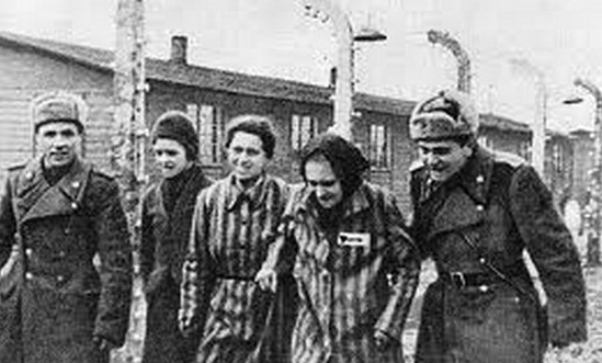 Auschwitz prisoners liberated by  the Soviet Red Army.