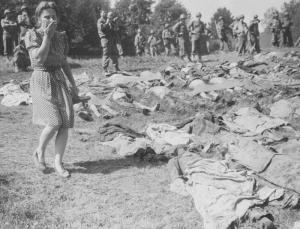 One of countless Nazi atrocities -- the bodies of 800 slave workers murdered by SS guards near Namering, Germany, are laid out in public as a warning to townspeople.