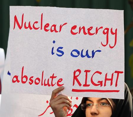 Protest in Tehran against attempts to interfere with Iran's sovereign right to possess nuclear technology, November 23, 2014.