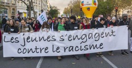 The banner of 'Youth against racism' in a protest in Paris, November 2013.
