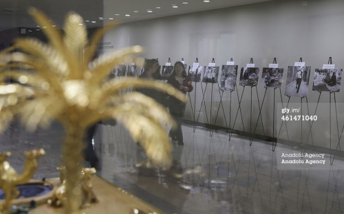 Photographs by Hagop Vanesian, an Armenian-origin Syrian photographer, are seen at the exhibition called 'My Homeland' which is supported by the Syria Permanent Mission to the United Nations (UN) at the UN building in New York on January 12, 2015 | Bilgin S. Sasmaz/Anadolu Agency/Getty Images