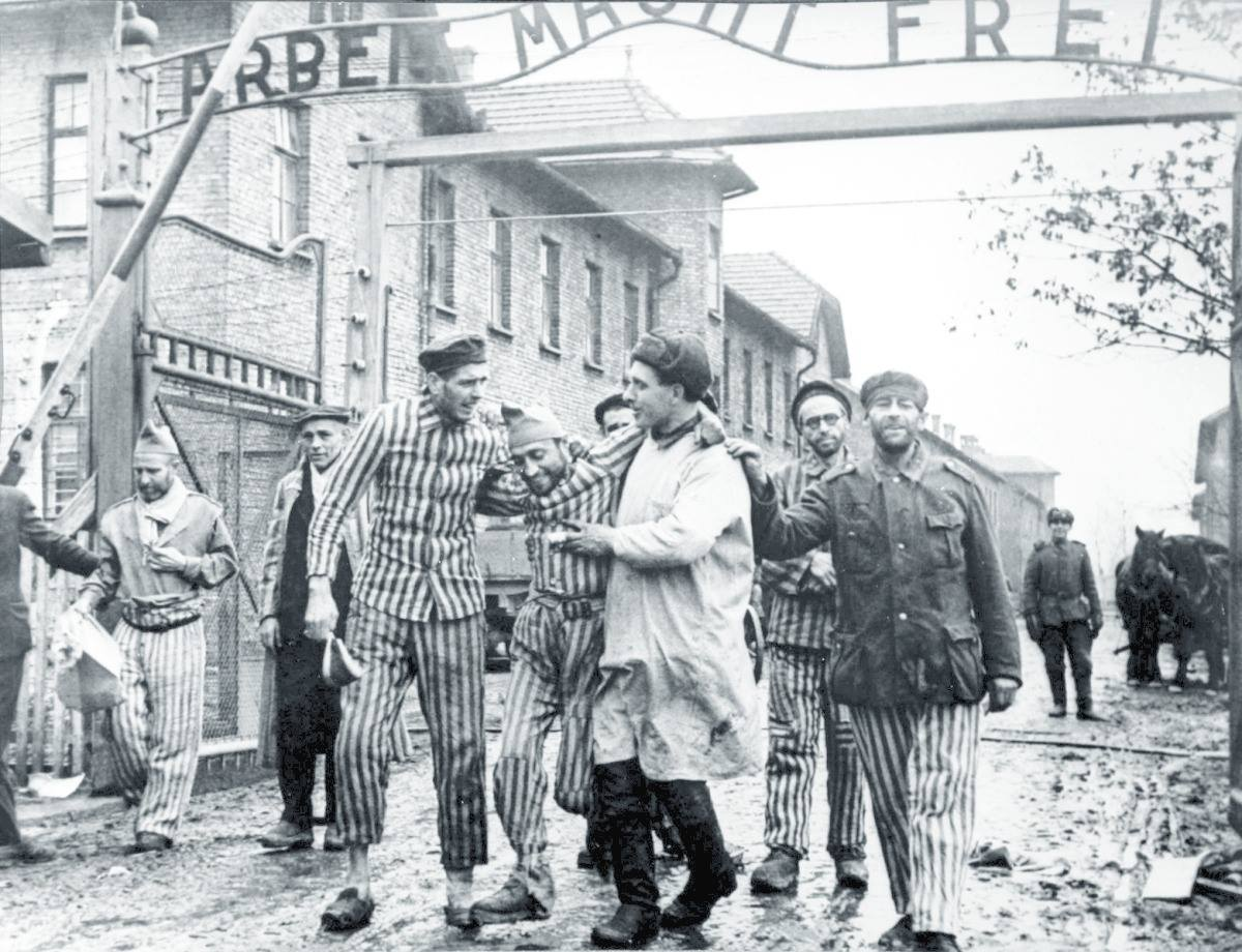 Red Army doctor attends to Auschwitz prisoner after its liberation In January, 1945