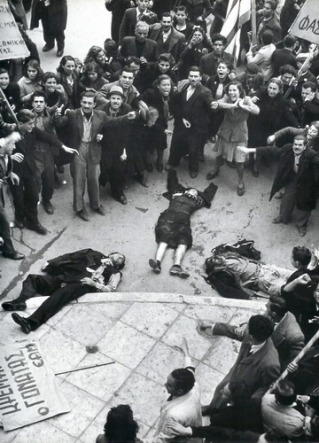 Protestors and the victims after British police open fire on the EAM patriotic demonstration in Athens, Greece, on December 3, 1944, six months before the war was over | Ellada 1944 by Dmitri Kessel