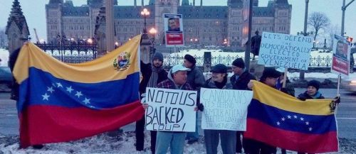 Rally in Ottawa, February 20, 2014 opposes Canadian and U.S. interference in Venezuela.