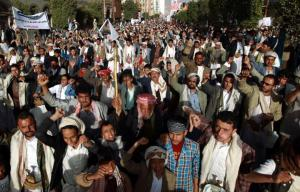 Mass demonstration on Feb. 27 in Sana'a, Yemen demands an end to foreign interference in Yemeni politics | AFP/Mohammed Huwais.