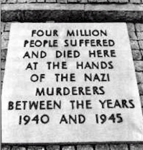Memorial to the victims of Nazi atrocities at the site of the former Dachau concentration camp representing  the demand of the world's people to never again permit the rise of fascism.