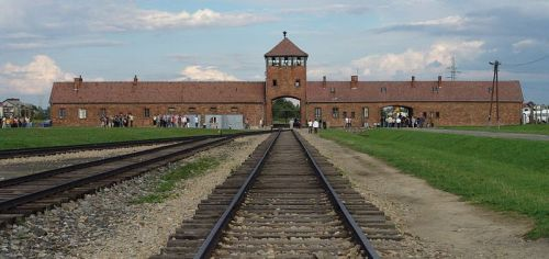 Birkenau gate at Auschwitz