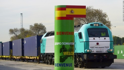 "The train ""Yixinou"" enroute to Madrid. China and Spain are welcoming expanded trade with a new long-haul rail connection"
