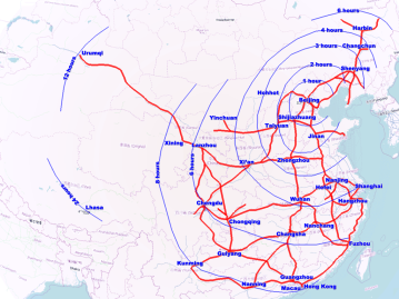 Map showing projected high-speed rail network in China by 2020 and the travel time by rail from Beijing to each of the provincial capitals. (Click to enlarge)