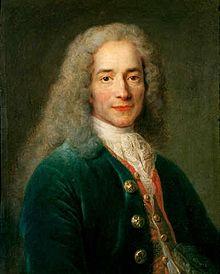 François-Marie Arouet (1694–1778), known as Voltaire, French Enlightenment writer and philosopher | D'après Nicolas de Largillière, portrait de Voltaire (Institut et Musée Voltaire)