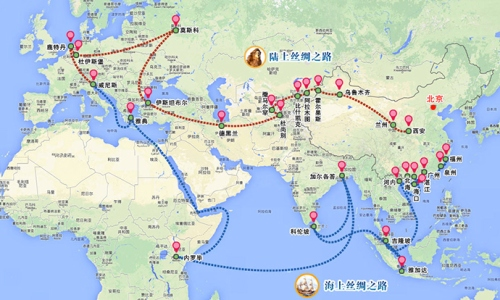 The land-based New Silk Road will start in central China and run southwest from Central Asia to northern Iran before turning west through Iraq, Syria, and Turkey toward Europe. There the Silk Road route goes through Bulgaria, Romania, the Czech Republic, and Germany, where it swings north to Rotterdam in the Netherlands and then south to Italy where it meets the Maritime Silk Road. The Maritime Silk Road will begin in Quanzhou in Fujian province, go through a number of cities before heading south to the Malacca Strait. From Kuala Lumpur, it heads to India and Kenya, then goes north around the Horn of Africa and moves through the Red Sea into the Mediterranean, with a stop in Athens before meeting the land-based Silk Road in Venice. This Xinhua map does not include a stop in Sri Lanka, though they are supposed to be part of the Maritime Silk Road. Map from Xinhuanet.com (Click to nlarge)