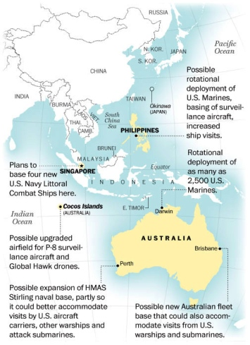 The US and Australia are planning a major expansion of military ties, including a US Marine base in Darwin, possible drone flights from a coral atoll in the Indian Ocean and increased US naval access to Australian ports, as the Pentagon looks shifts its forces closer to SE Asia (Click to enlarge)