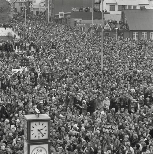 Thousands of striking women gather in Reykjavik, Iceland in 1975.