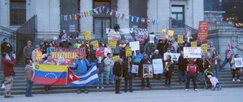 Emergency demonstration in support of Venezuela and to oppose U.S. threats, Vancouver, March 10, 2015.