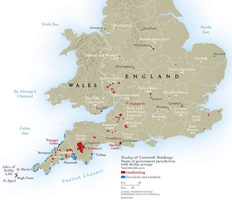 Legacy of heirs to the British throne since 1337, the Duchy of Cornwall is more than 135,000 acres (55,000 hectares) of mostly rural land. In 1777 Cornish was considered to be extinct, but there are ongoing efforts to revive the Celtic language. (Click to enlarge)